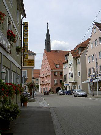 Neresheim - Neresheim Town hall (Red building with tower)
