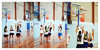 Rules of netball - Attempts at scoring goals during a junior netball match in Australia