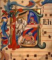 Niccolò da Bologna - Birth of John the Baptist, National Gallery of Art, Washington DC, miniature on vellum, late 14th cent.jpg