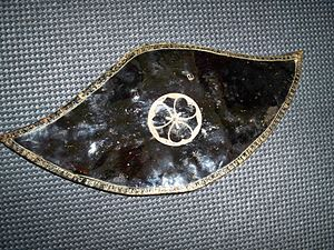 Kasa (hat) - Antique Japanese samurai leather jingasa (war hat) in the nirayama style.