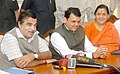 Nitin Gadkari and the Chief Minister of Maharashtra Shri Devendra Fadnavis at a press conference after review meeting with the officers from Maharashtra Government Department of Water Resource in respect of schemes under.jpg