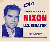 Front cover of flyer for Nixon campaign, showing his photo.