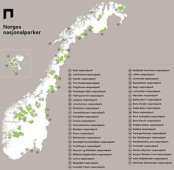 kart over nasjonalparker i norge Nasjonalparkar i Noreg – Wikipedia