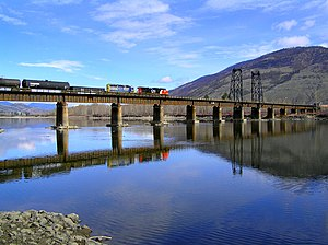 Canadian (train) - CN's crossing of the North Thompson River.