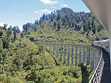 Northern Explorer train in central North Island of New Zealand
