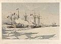Nos Souvenirs de Kil-Bouron. La Canonniere la Fleche coupant la glace a toute vapeur pour degager le Vautour et la Flamme 28 Janvier 1856) RMG PY0863.jpg