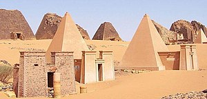 Nubian pyramids - Wide view of Nubian pyramids, Meroe. Three of these pyramids are reconstructed.