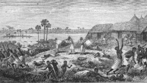 Congo Arab war - Three men of Dugumbé ben Habib raiding the market of Nyangwe, July 15th, 1871