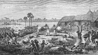 Slave raiding - Raid upon a Congolese village by Arab slavers in the 1870s