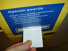 Kaartlezer voor treinkaartjes, strippenkaarten en abonnementhouders op Vlaardingen Oost
