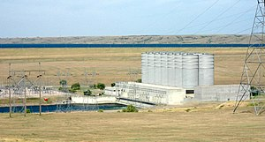 Oahe Dam - Oahe powerhouse showing surge chambers and part of powerhouse, looking to north-west.