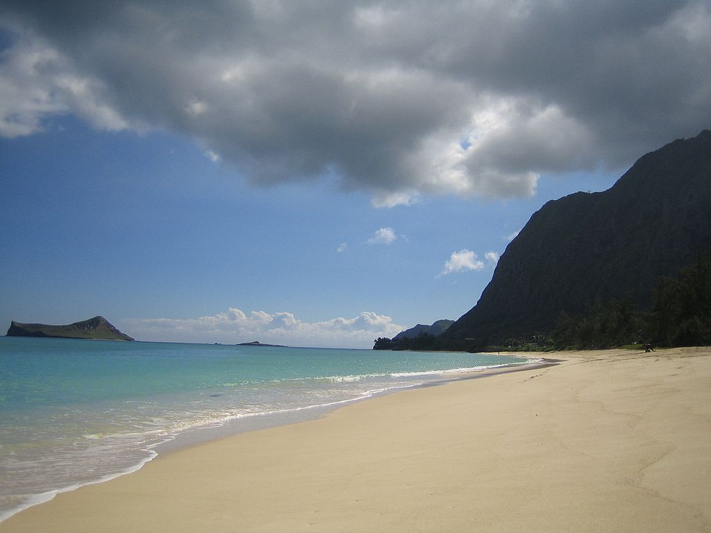 Waimanalo Beach, located on the windward side of O'ahu, Hawai'i.
