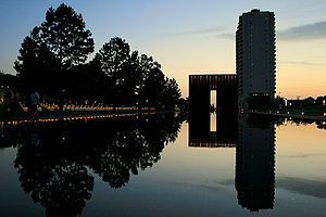 Oklahoma City National Memorial - The Oklahoma City National Memorial as seen from the base of the reflecting pool.