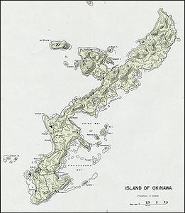 Topographische Karte von Okinawa Hontō