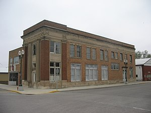 Fonda, Iowa - The former First National Bank, which now houses the Old Bank Bistro. The Haymarket Bar is attached at left.