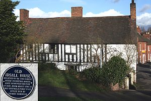 Shifnal - Old Idsall House, Church Street, Shifnal and blue plaque inset.