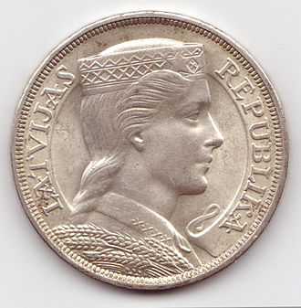 Latvian lats - The 5 lati coin, used before World War II, became a popular symbol of independence during the Soviet era. The coin was designed by Rihards Zariņš.