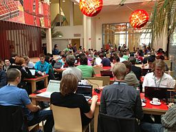 Wikimedia hackathon in Amsterdam in 2013, by User:Multichill (Own work) [CC-BY-SA-3.0 (http://creativecommons.org/licenses/by-sa/3.0)], via Wikimedia Commons