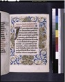 Opening of main text, large initial, full border decoration, rubric, linefiller (NYPL b12455533-426024).tif