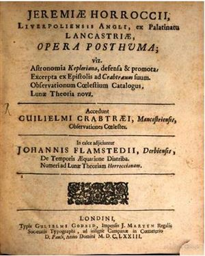 Jeremiah Horrocks - The title page of Jeremiah Horrocks' Opera Posthuma, published by the Royal Society in 1672.