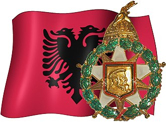 Order of Skanderbeg (1990–) - Order of Skanderbeg insignia, shown with the Albanian Flag