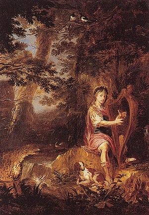 Michael Willmann - Orpheus playing a harp