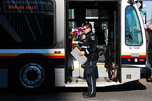 Ottawa Paramedic Service - A paramedic outside the Treatment and Rehabilitation Unit, during the Remembrance Day ceremonies in Ottawa