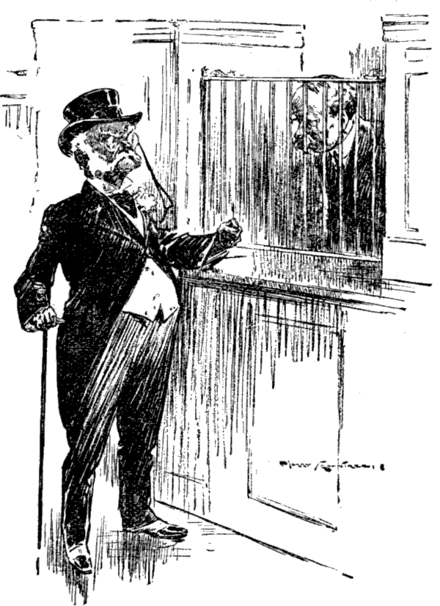 """I warn you, Sir! The discourtesy of this bank is beyond all limits. One word more and I - I withdraw my overdraft!"" Cartoon from Punch Magazine Vol. 152, June 27, 1917 Overdraft - Punch cartoon - Project Gutenberg eText 16113.png"