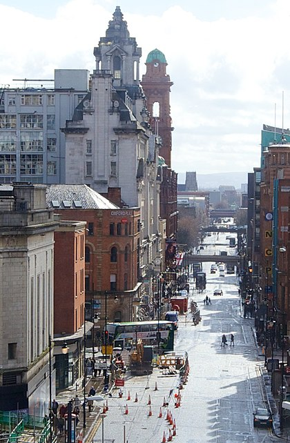 Oxford Road, one of the main thoroughfares into Manchester city centre. Oxford Road Manchester 2014.jpg