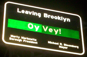 Sign leaving Brooklyn on Williamsburg Bridge s...