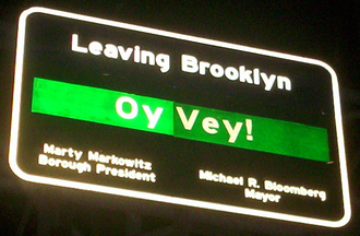 Oy vey - Sign at the border of Brooklyn