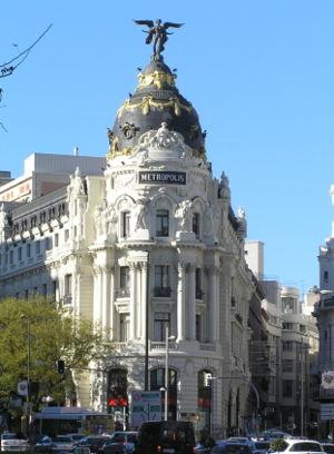 Gran Vía (Madrid) - The Metropolis Building located in Gran Vía and Alcalá Street