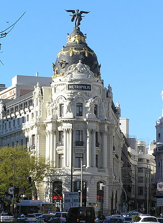 Gran Vía (Madrid) - The Metropolis Building located in Gran Vía and Alcalá Street