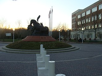 Upper Marlboro, Maryland - The Three Horse Statue featured prominently in front of the county courthouse in December 2008.