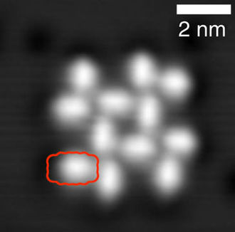Perylenetetracarboxylic dianhydride - Self-assembly of PTCDA molecules on NaCl, scanning tunneling microscopy image.