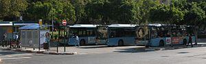 Kavim - Kavim buses waiting at the Kaplan Terminal near the Beilinson Hospital in Petah Tikva.