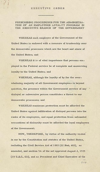 Loyalty oath - Page one of Executive Order 9835, signed by Harry S. Truman in 1947