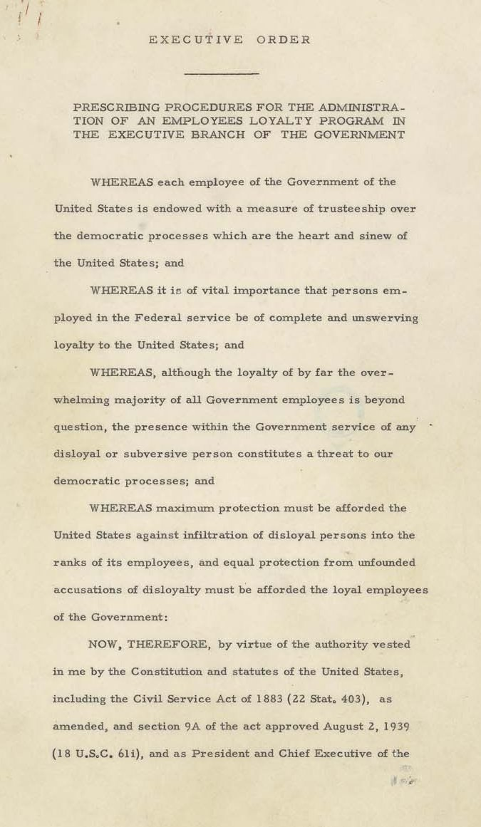 Page one of Executive Order 9835