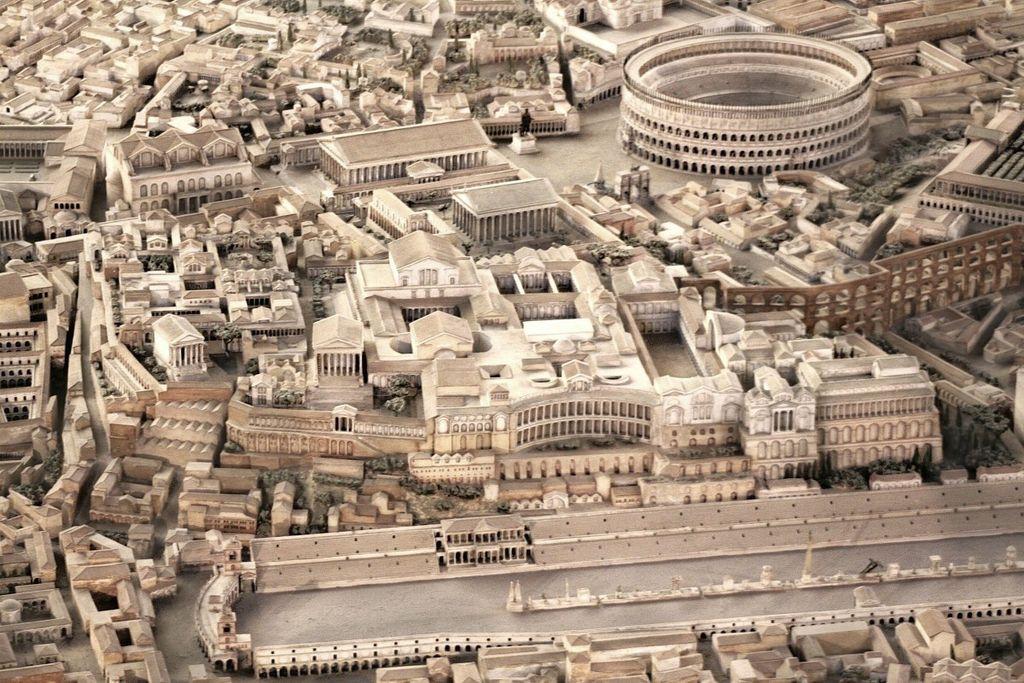 Vue sur la Colline palatine à Rome pendant l'antiquité vers 400. Photo de Cassius Ahenobarbus d'une maquette de Gismondi.