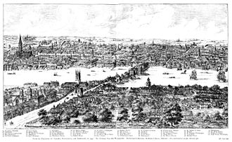 Panorama of London - Image: Panorama of London in 1543 Wyngaerde Section 2