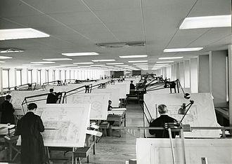 Drafting machine - Ercole Marelli offices, Sesto San Giovanni. Photo by Paolo Monti, 1963.