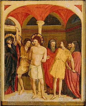 Paolo Schiavo - Paolo Schiavo, The Flagellation, oil on panel, 1430s