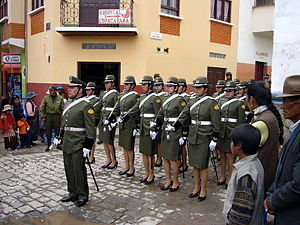Law enforcement in Bolivia - Police parade in Copacabana, Bolivia.