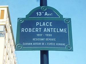 Robert Antelme - Sign board of street named after Antelme.