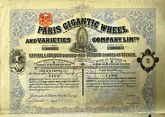 Grande Roue de Paris - Share of the Paris Gigantic Wheel and Varieties Company, issued 20. September 1898