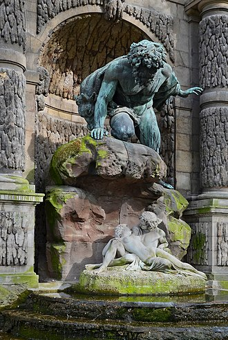 Medici Fountain - Polyphemus Surprising Acis and Galatea, by sculptor Auguste Ottin, was added to the fountain in 1866.