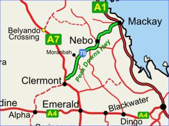 Peak Downs Highway - Peak Downs Highway depicted in green on black.