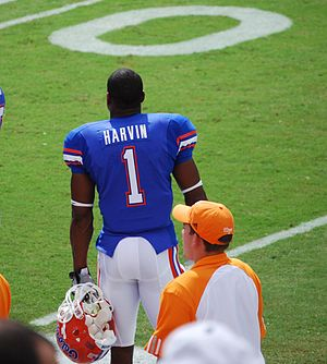 Percy Harvin - Harvin standing on the sidelines while playing for the Gators