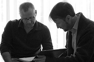Todd Field - Tom Perrotta and Field working on the script for Little Children, 2005