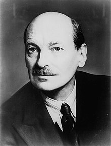 portrait photograph of Clement Attlee, aged around 62